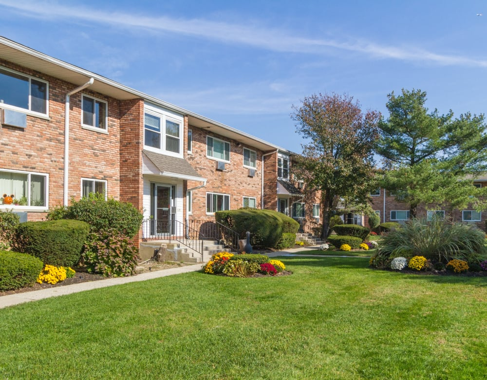 Brick exterior and entrance at Brixton Lane in Levittown, New York