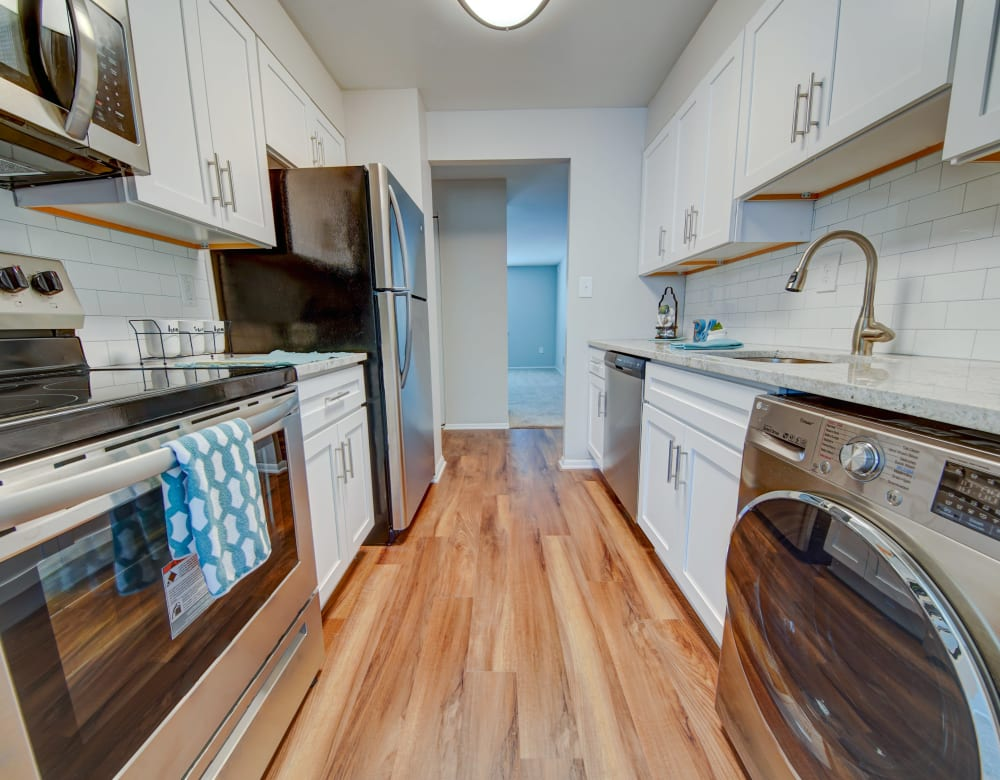 Kitchen model at Beacon Pointe Apartments & Townhomes in Sparrows Point, Maryland