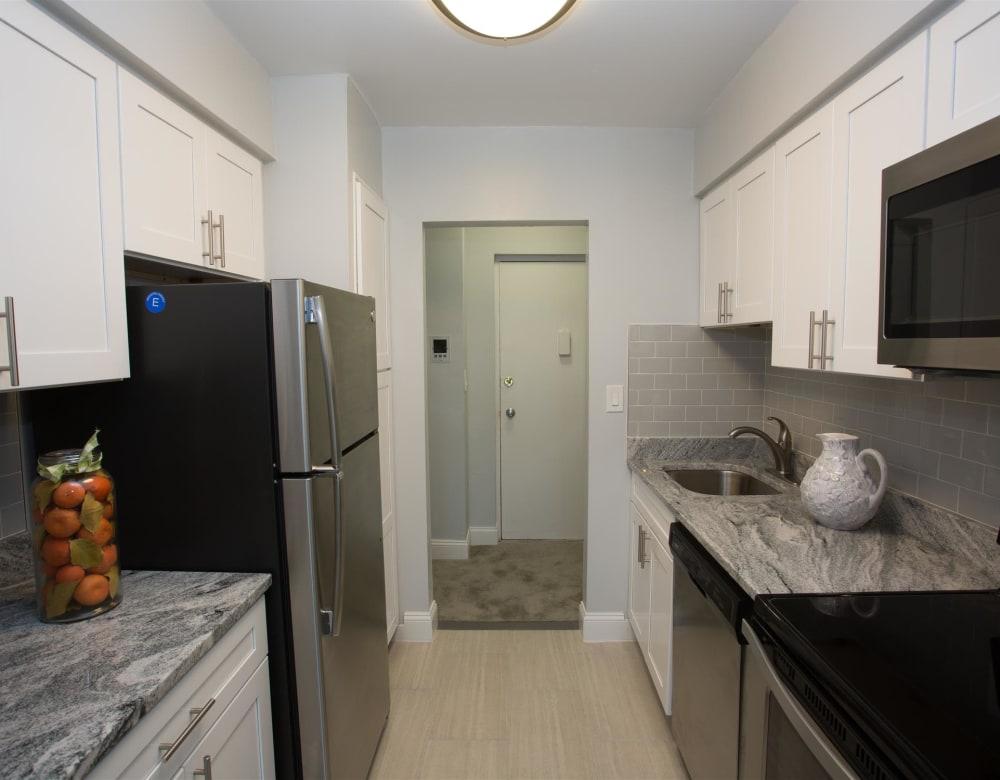 Sleek, bright kitchen at Eagle Rock Apartments at South Nyack in South Nyack, New York
