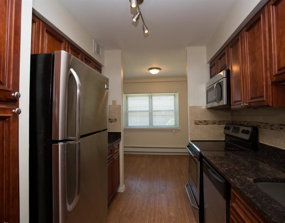 Stainless steel appliances at Eagle Rock Apartments at South Nyack in South Nyack, New York