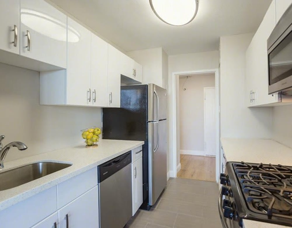 Sleek kitchen at Chestnut Hill Tower in Philadelphia, Pennsylvania