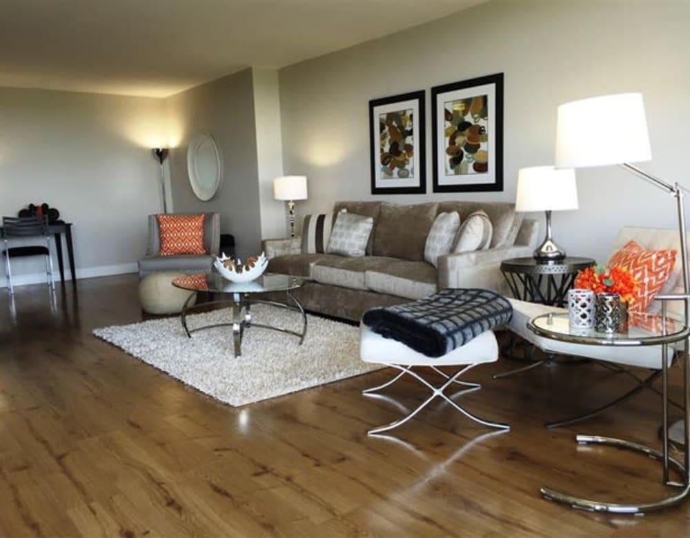 Living room with hardwood flooring at Chestnut Hill Tower in Philadelphia, Pennsylvania