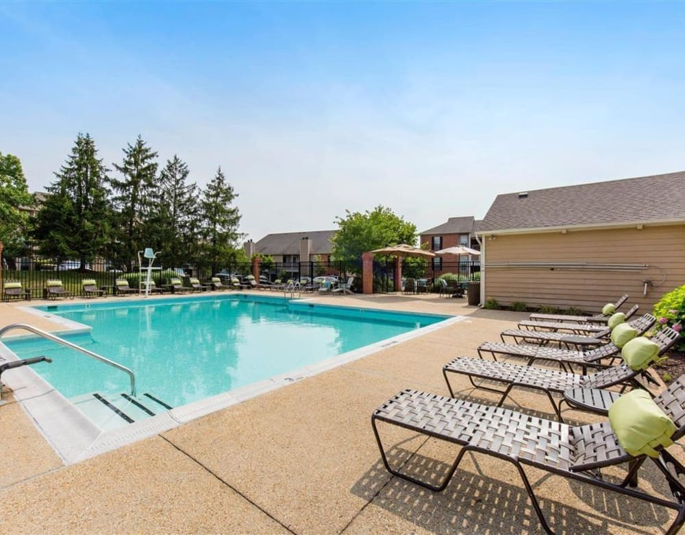 Resort-style swimming pool at Hampton Point Apartment Homes in Silver Spring, Maryland