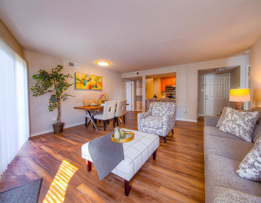 Spacious living room at Hampton Point Apartment Homes in Silver Spring, Maryland