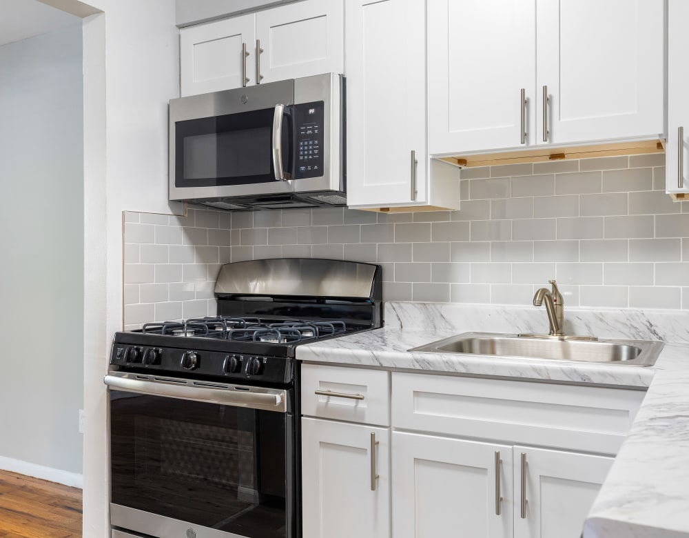 Updated kitchens at Mid Island Apartments in Bay Shore, New York
