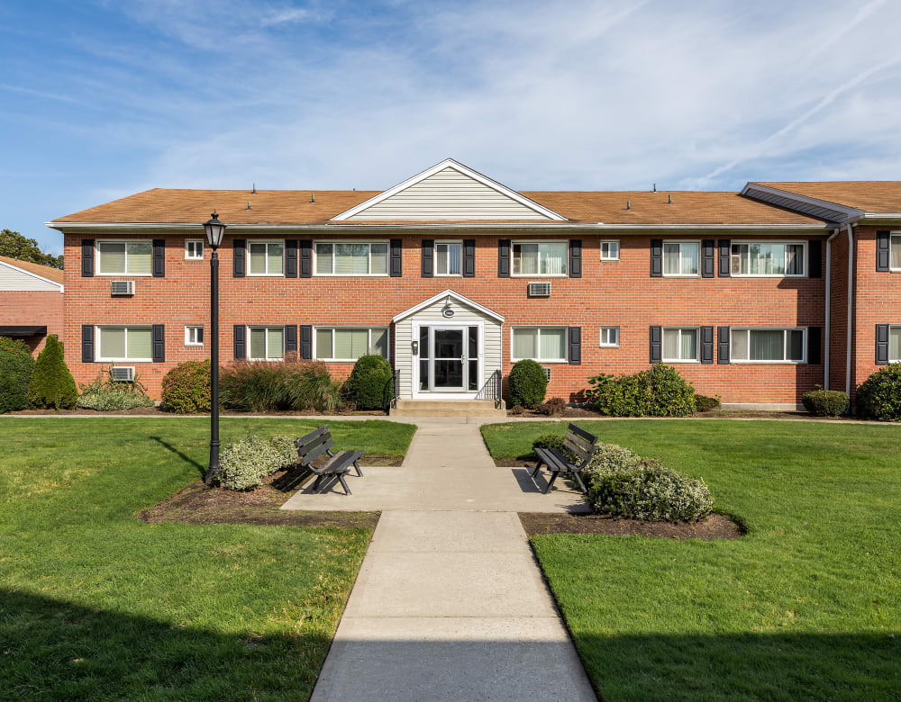 Traditional brick architecture at Mid Island Apartments in Bay Shore, New York