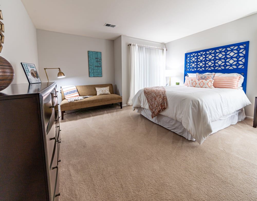 Furnished bedroom at Ramblewood Village Apartments in Mount Laurel, New Jersey