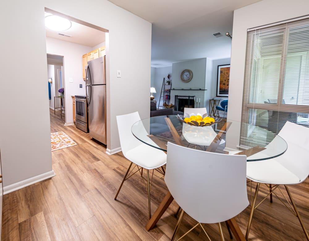 Dining room with hardwood flooring Ramblewood Village Apartments in Mount Laurel, New Jersey