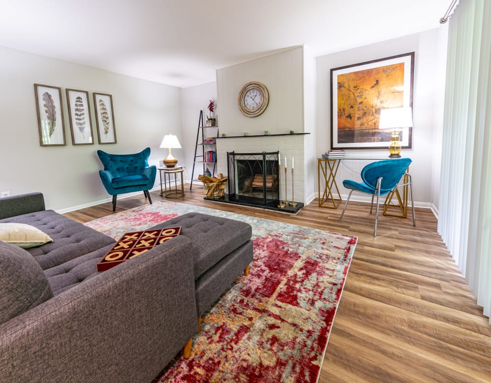 Furnished living room at Ramblewood Village Apartments in Mount Laurel, New Jersey