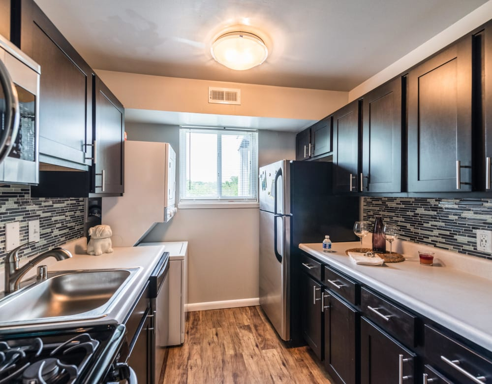 An upgraded apartment kitchen at The Blvd at White Springs in Nottingham, Maryland