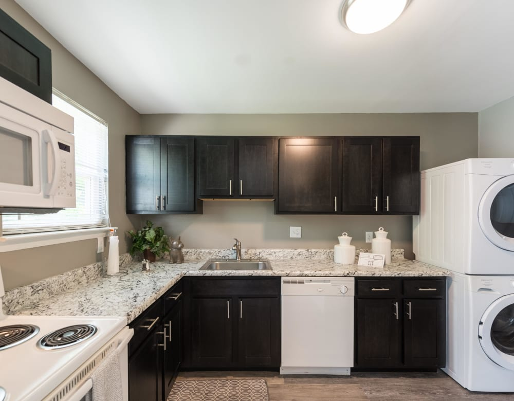 A kitchen in a model apartment at The Springs in Parkville, Maryland