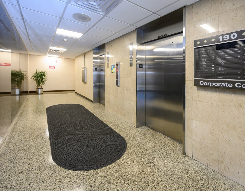 Bright lobby with elevators at 190 Moore Corporate Center in Hackensack, New Jersey