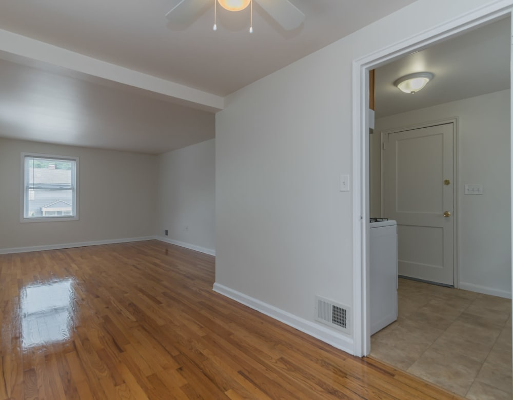 Hardwood flooring in apartments at West Gate Townhomes in New Haven, Connecticut