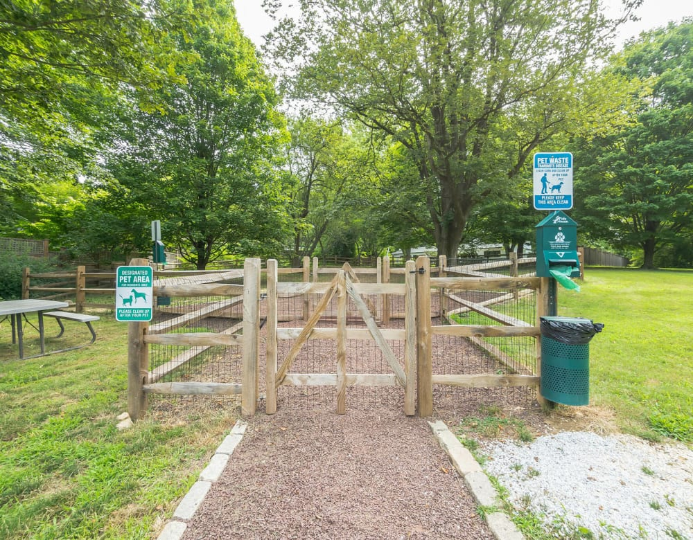 On site dog park is a fun community amenity at Cherokee Apartments in Philadelphia, Pennsylvania