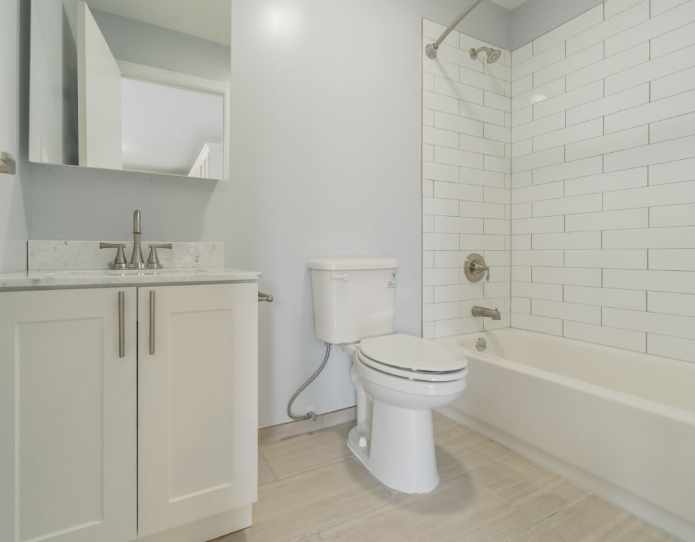 An apartment bathroom at Bunt Commons I in Lindenhurst, New York