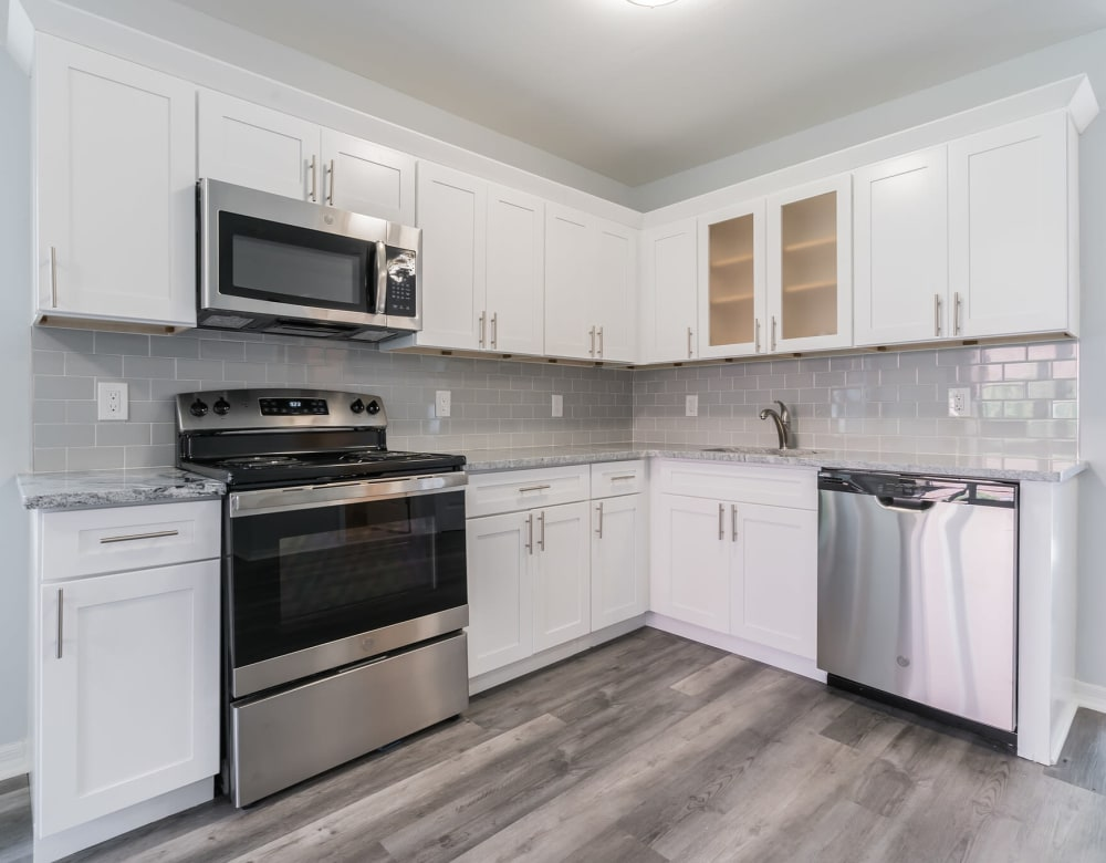An apartment kitchen at Bunt Commons III in Amityville, New York