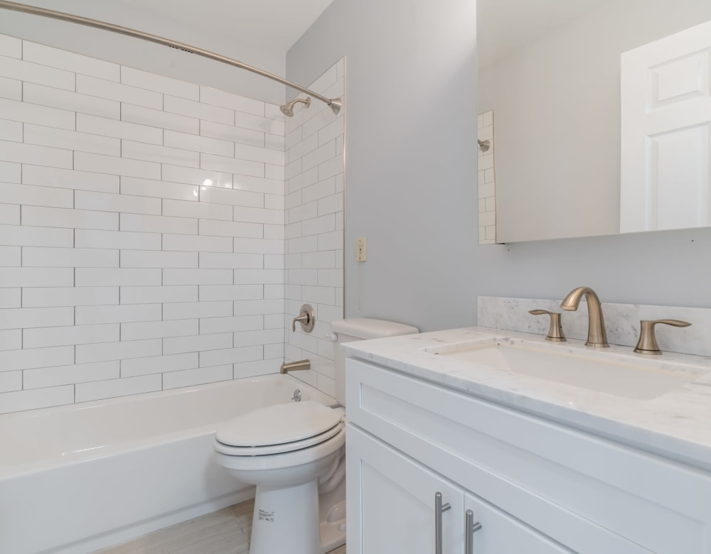 An apartment bathroom at Bunt Commons III in Amityville, New York