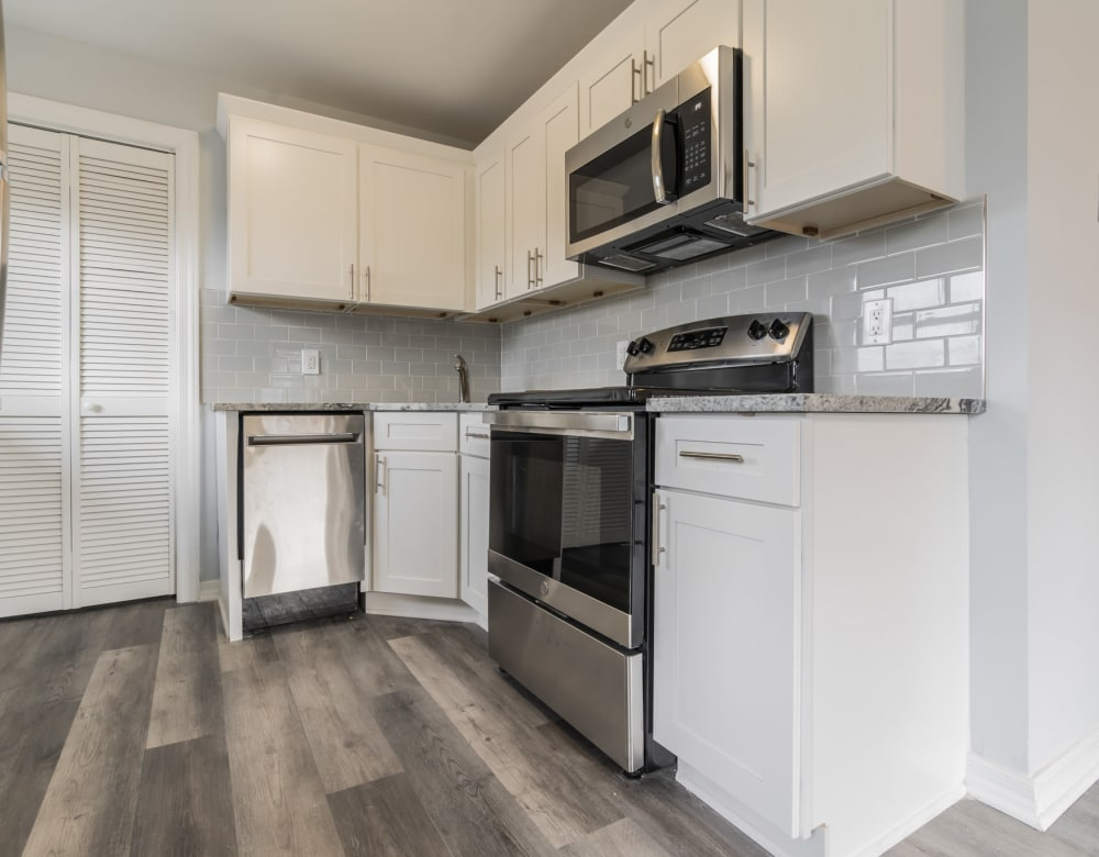 A kitchen with new appliances at Bunt Commons III in Amityville, New York