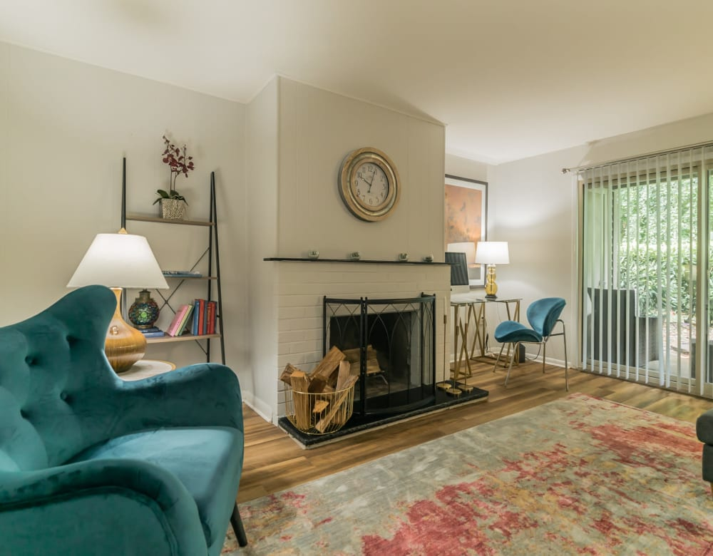 Living room furnished at Ramblewood Village Apartments in Mount Laurel, New Jersey