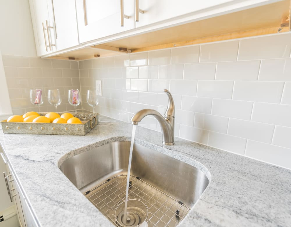 Kitchen of unit at Bellmore Manor Gardens with stainless sink