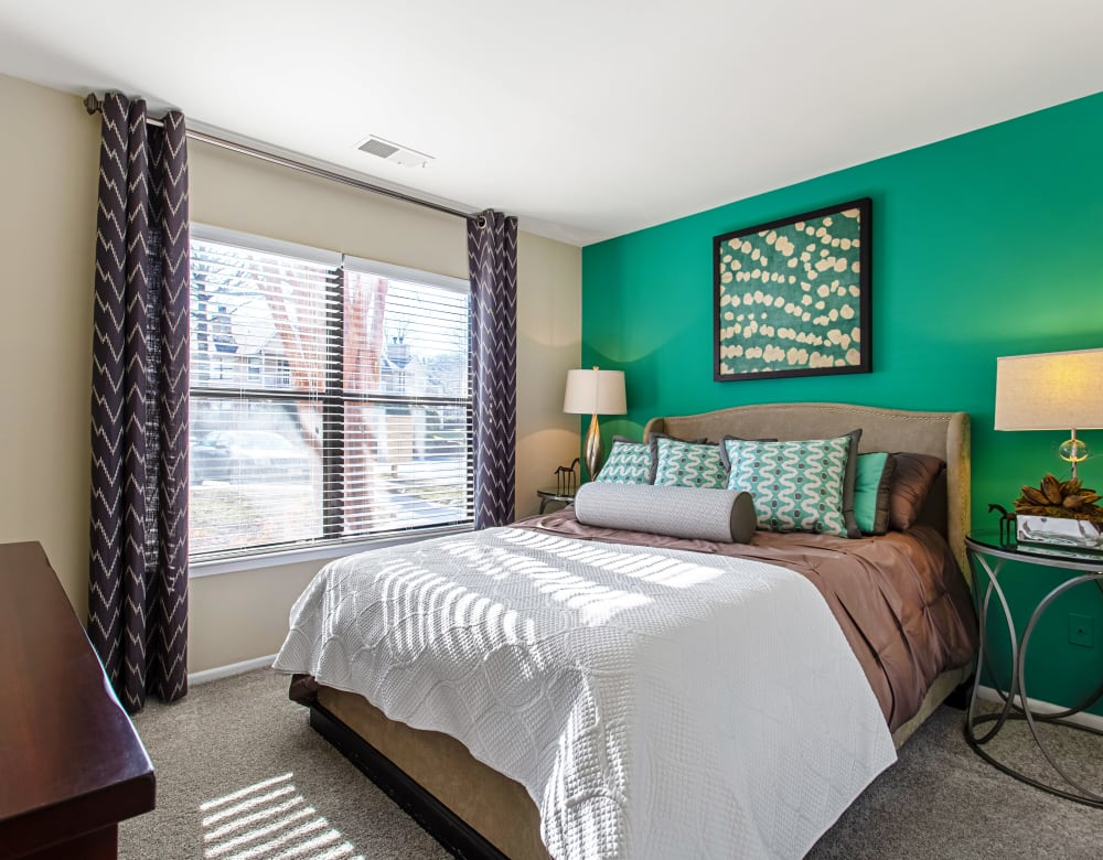 Large windows in a bedroom at Eagle Rock Apartments at Columbia in Columbia, Maryland