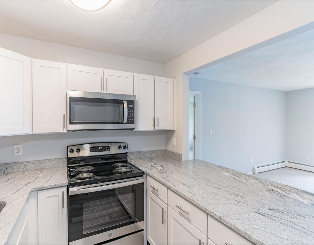 Steel appliance kitchen at Park Village West in Westborough, Massachusetts