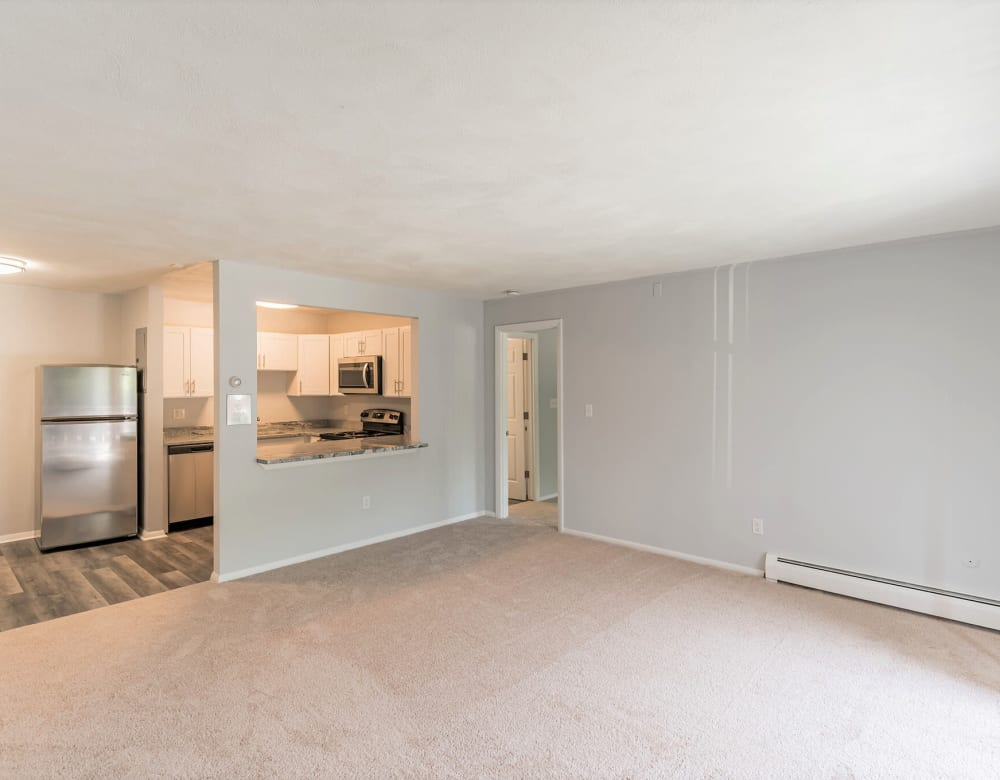 Spacious living room at Park Village West in Westborough, Massachusetts