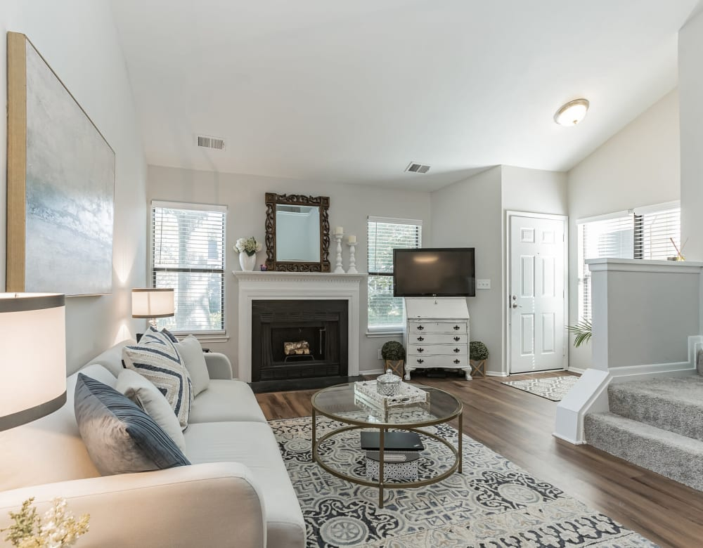 Model living room and entry at Eagle Rock Apartments at Columbia in Columbia, Maryland