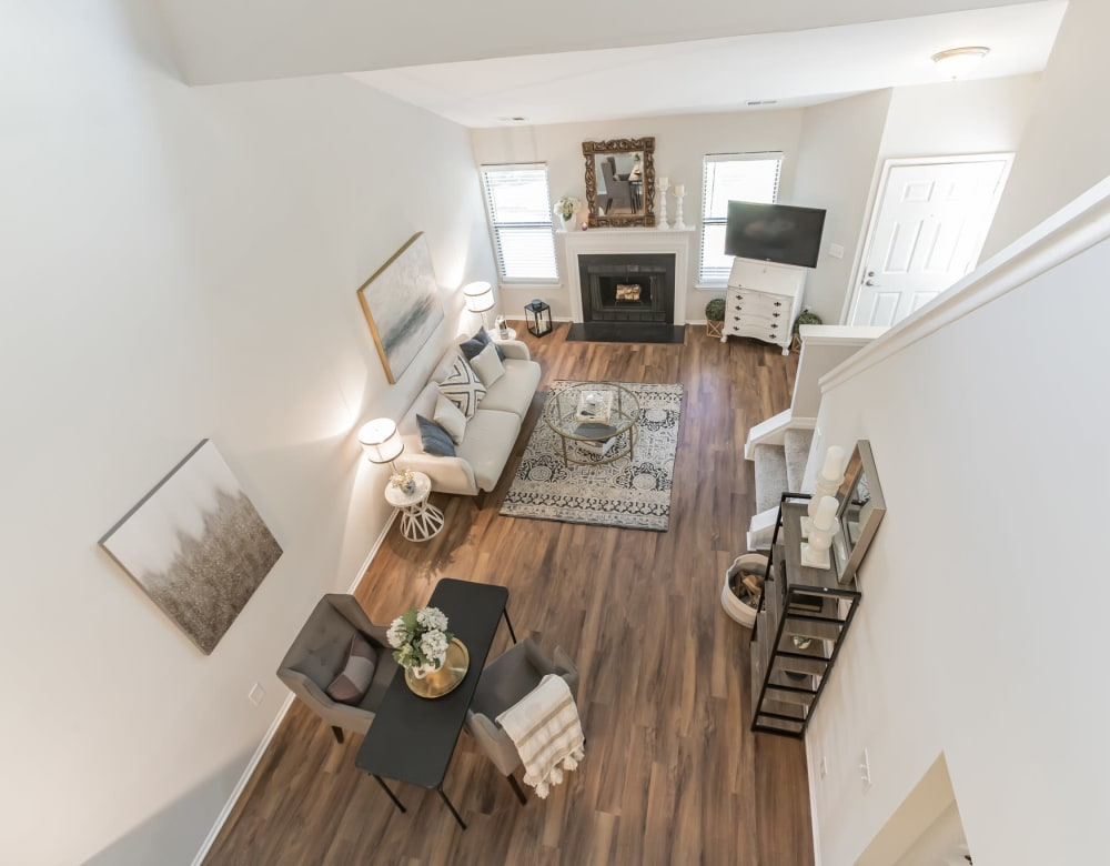 Living room overview from second story landing at Eagle Rock Apartments at Columbia in Columbia, Maryland