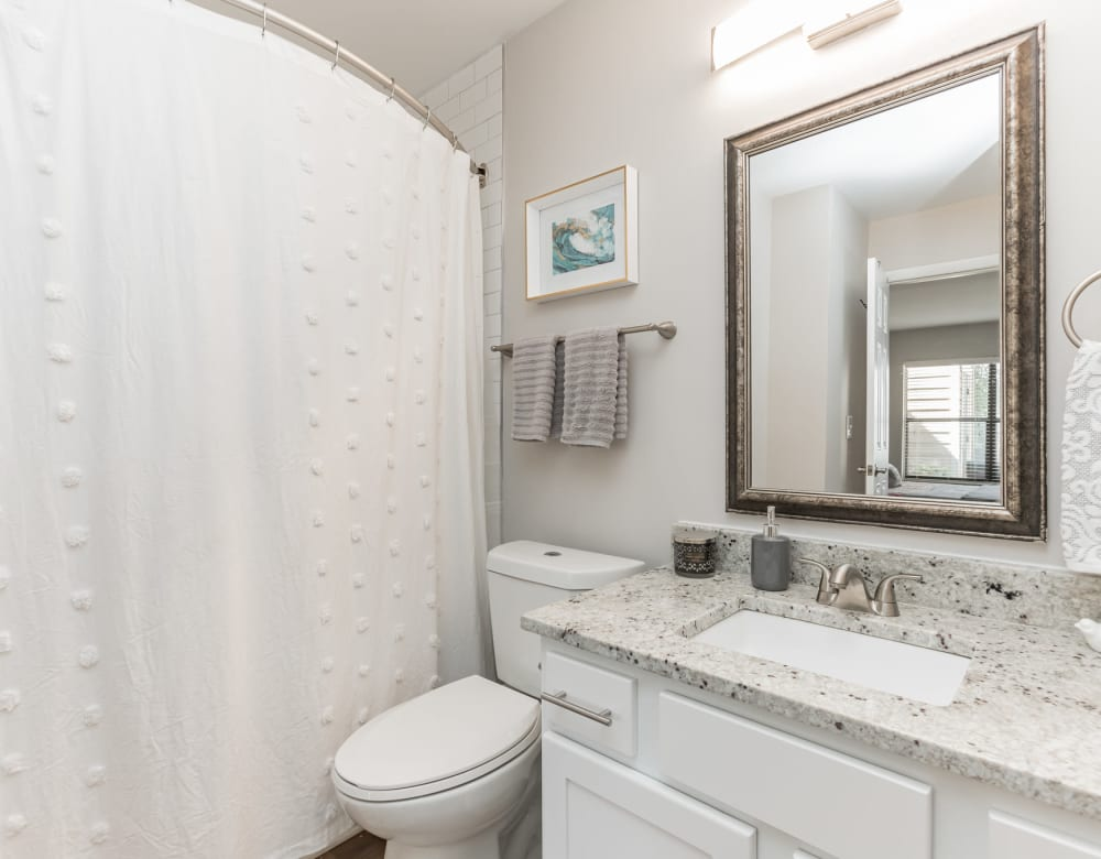 Bright bathroom with granite counter at Eagle Rock Apartments at Columbia in Columbia, Maryland