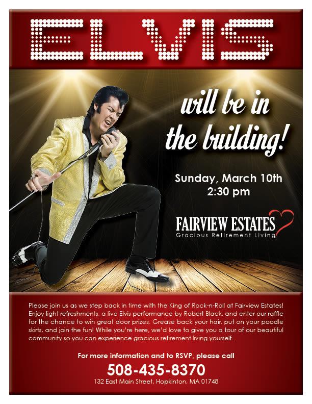 Elvis is in the building Fairview Estates Gracious Retirement Living.