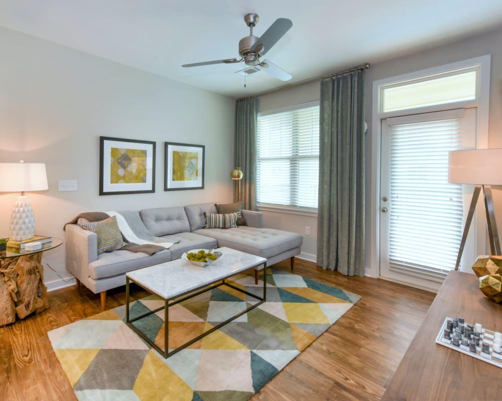 Model living room at Axis Berewick in Charlotte, North Carolina