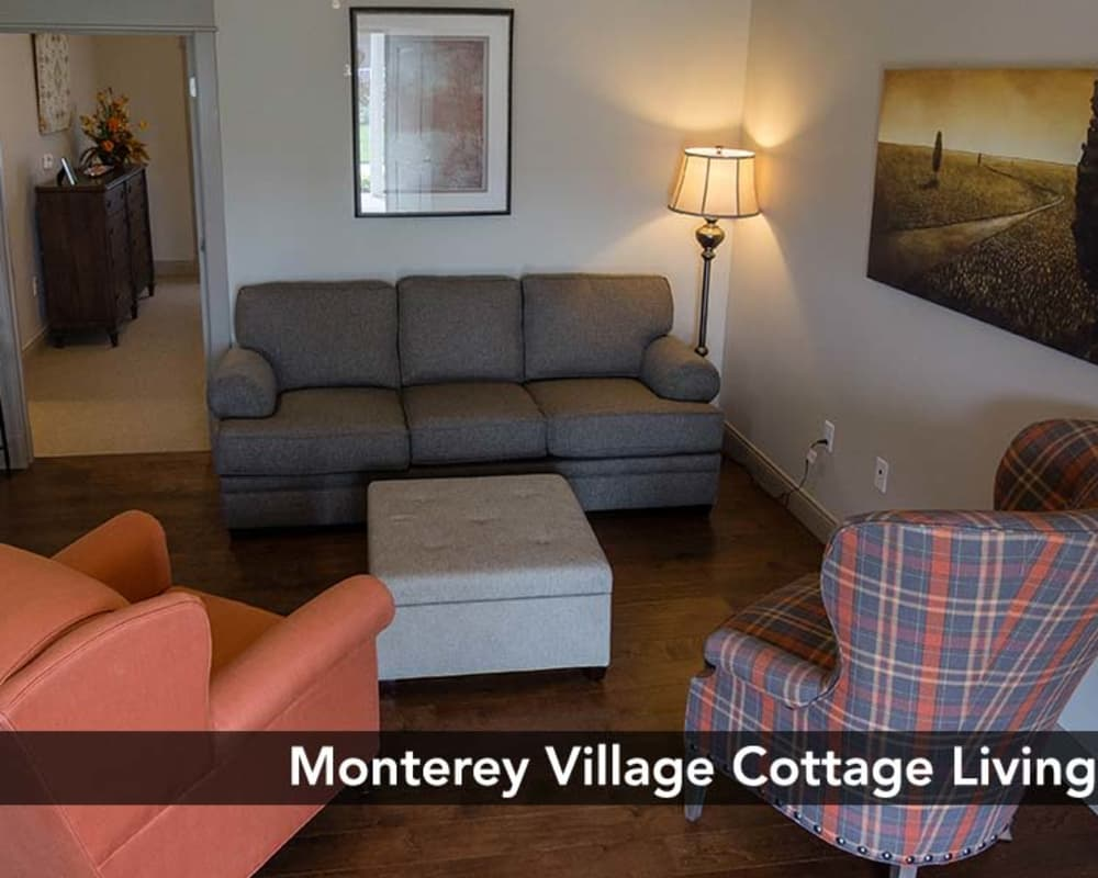 Living room at Monterey Village Lawrence, Kansas is great for entertaining in