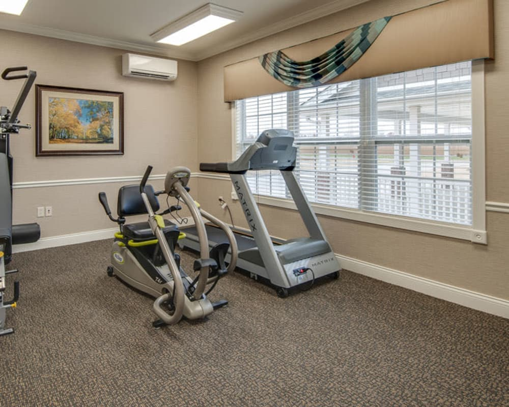 Fitness center at La Bonne Maison Senior Living in Sikeston, Missouri
