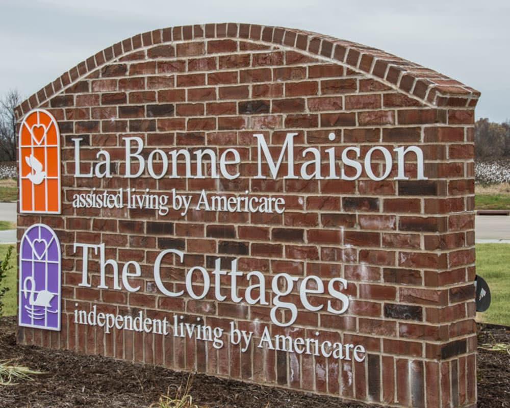Welcome sign at La Bonne Maison Senior Living community in Sikeston, Missouri