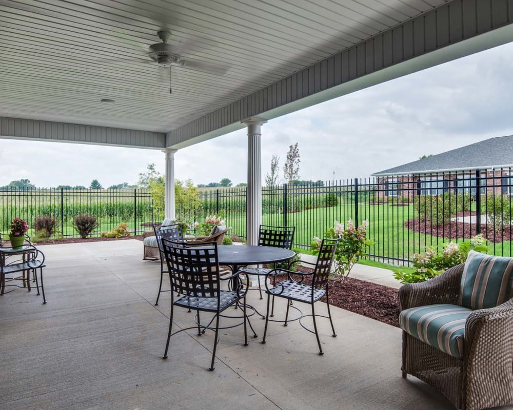 Outdoor dining area at Centennial Pointe Senior Living in Springfield, Illinois