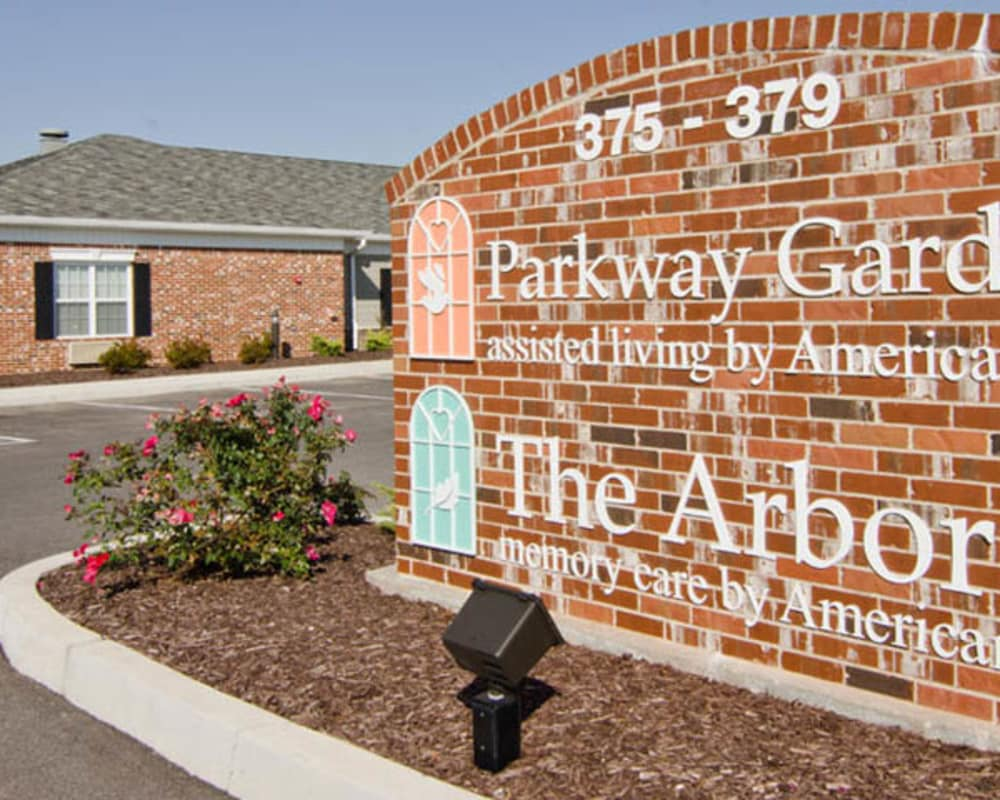 Welcome sign at Parkway Gardens Senior Living in Fairview Heights, Illinois