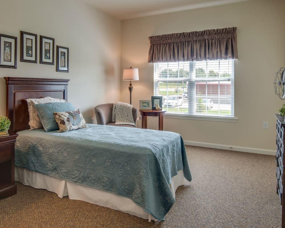 Model bedroom at Adams Pointe Senior Living in Quincy, Illinois