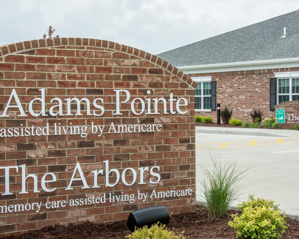 Welcome sign at Adams Pointe Senior Living in Quincy, Illinois