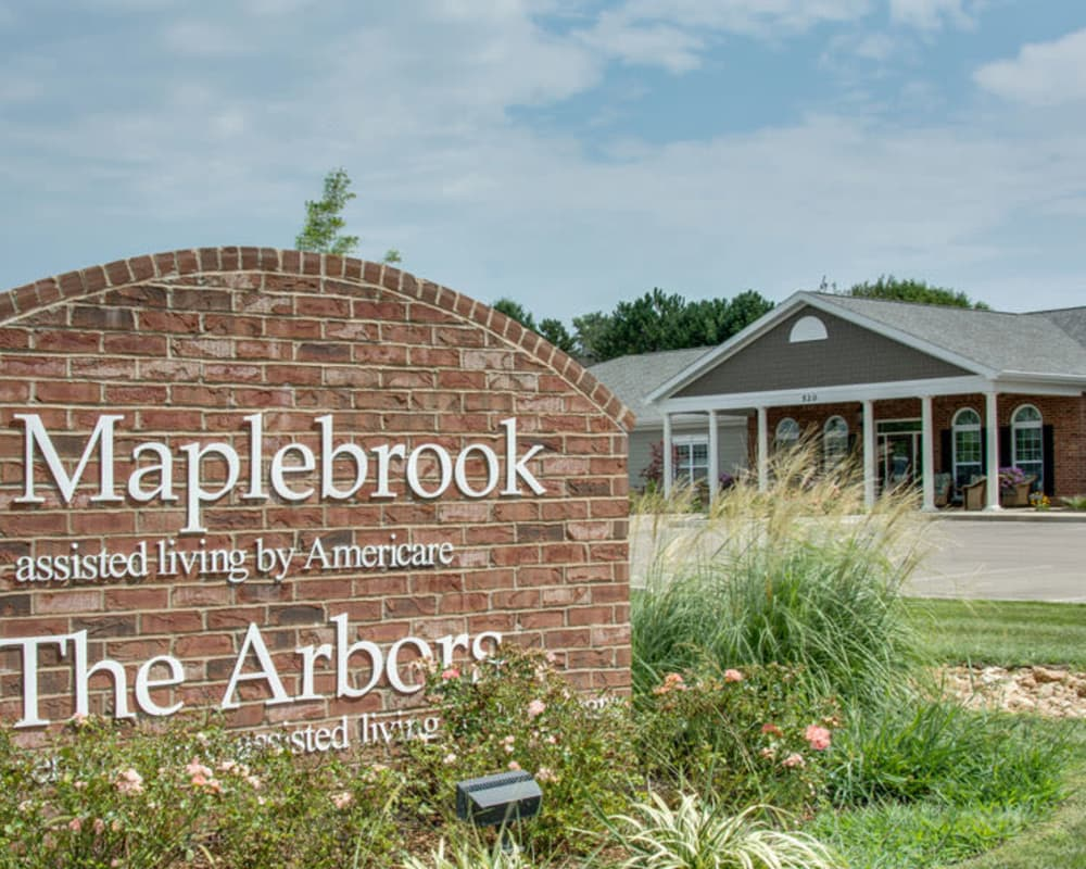 Front entrance at Maplebrook Senior Living in Farmington, Missouri