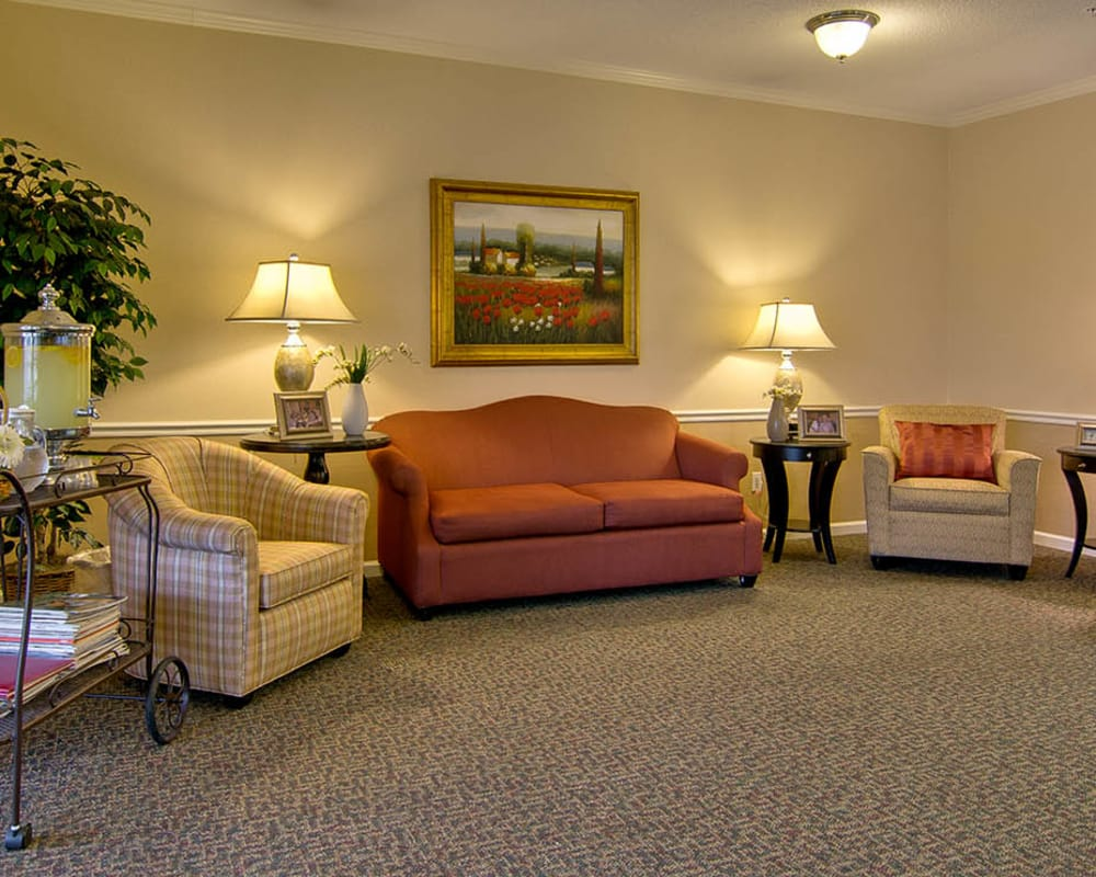 Cozy lounge area at Olive Grove Terrace Senior Living in Olive Branch, Mississippi