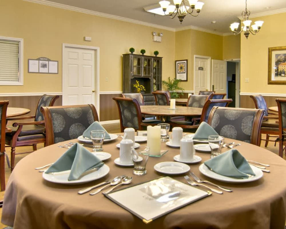 Well decorated dining area table at St. Francis Park Senior Living in Kennett, Missouri