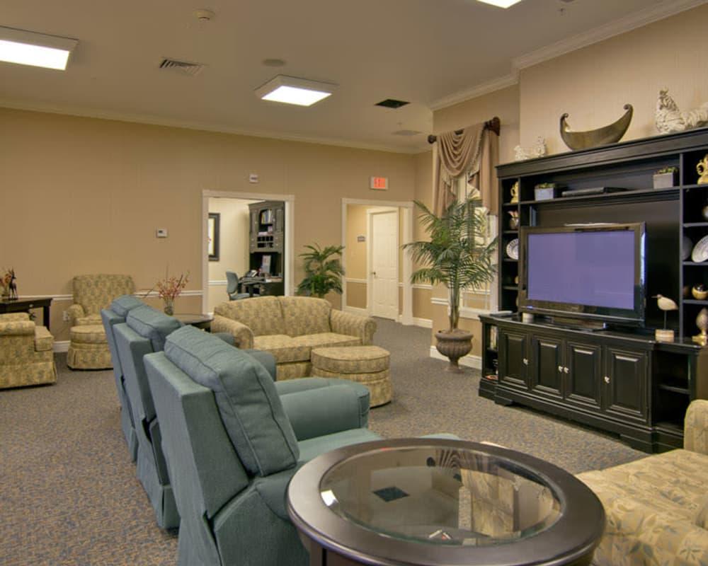 Cozy entertainment area at Hartmann Village Senior Living in Boonville, Missouri