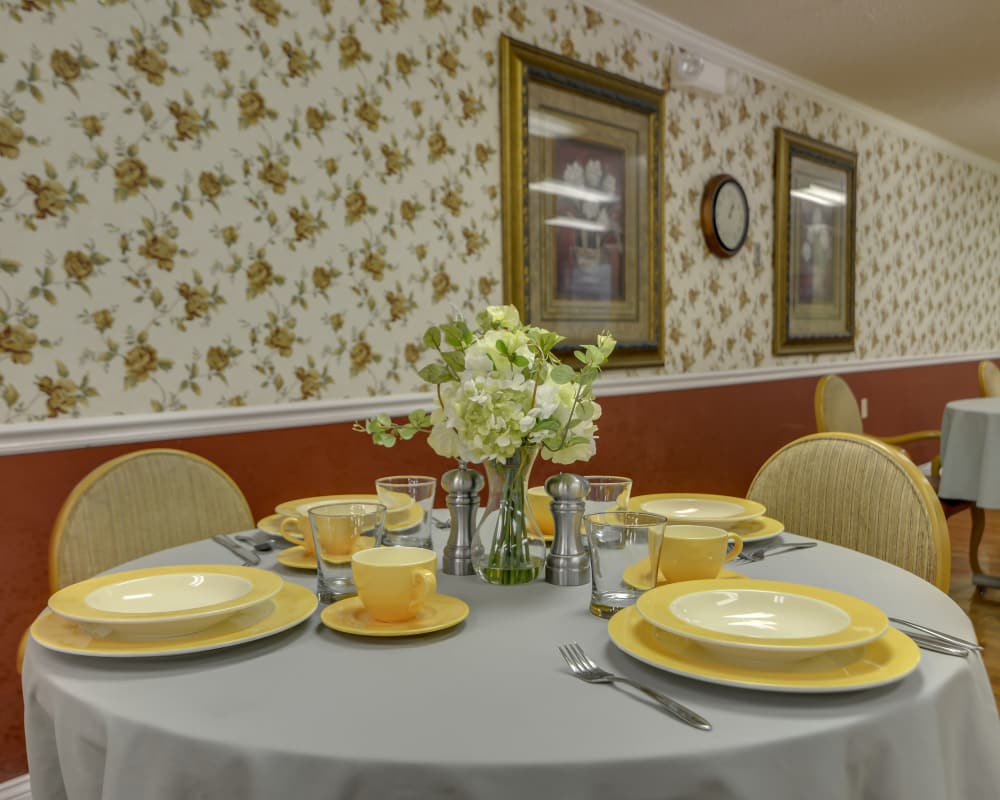 Well decorated dining area table at Heritage Health Care in Chanute, Kansas