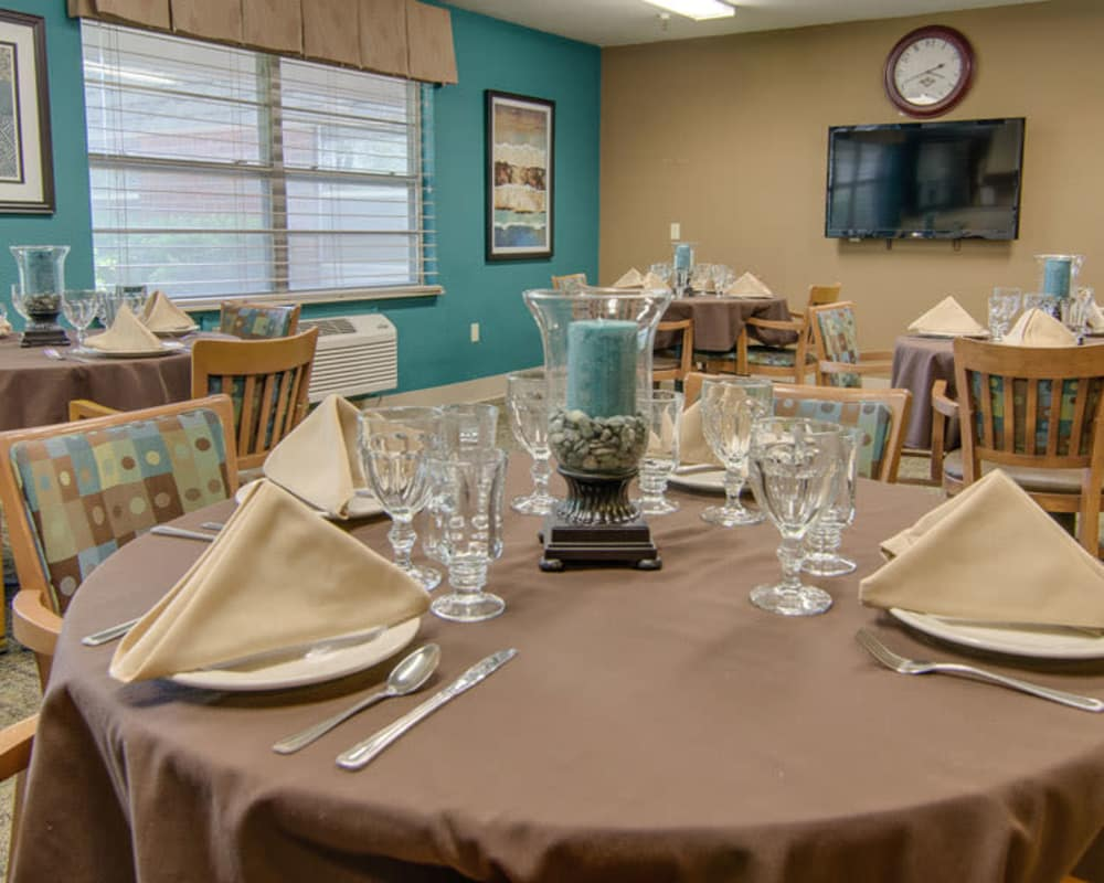 Well decorated dining area table at North Point in Paola, Kansas