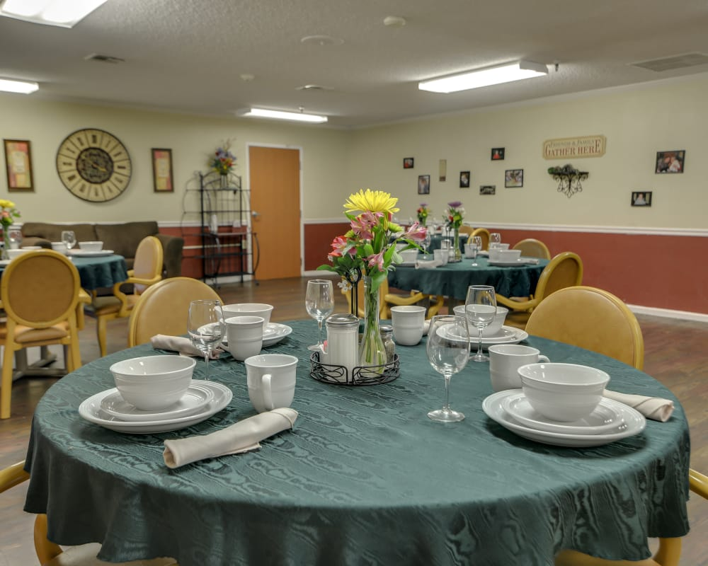 Well decorated dining area table at Galena Nursing Center in Galena, Kansas