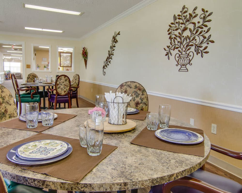 Well decorated dining area table at Moran Manor in Moran, Kansas
