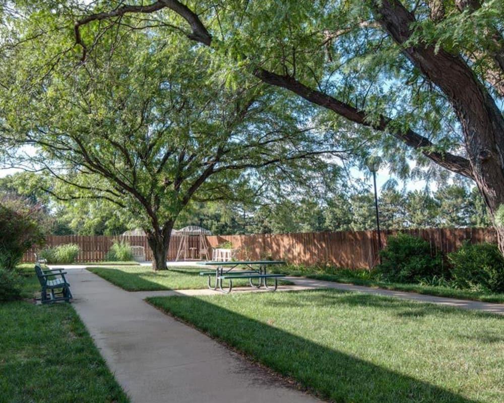 Backyard walkway at Hilltop Manor in Cunningham, Kansas