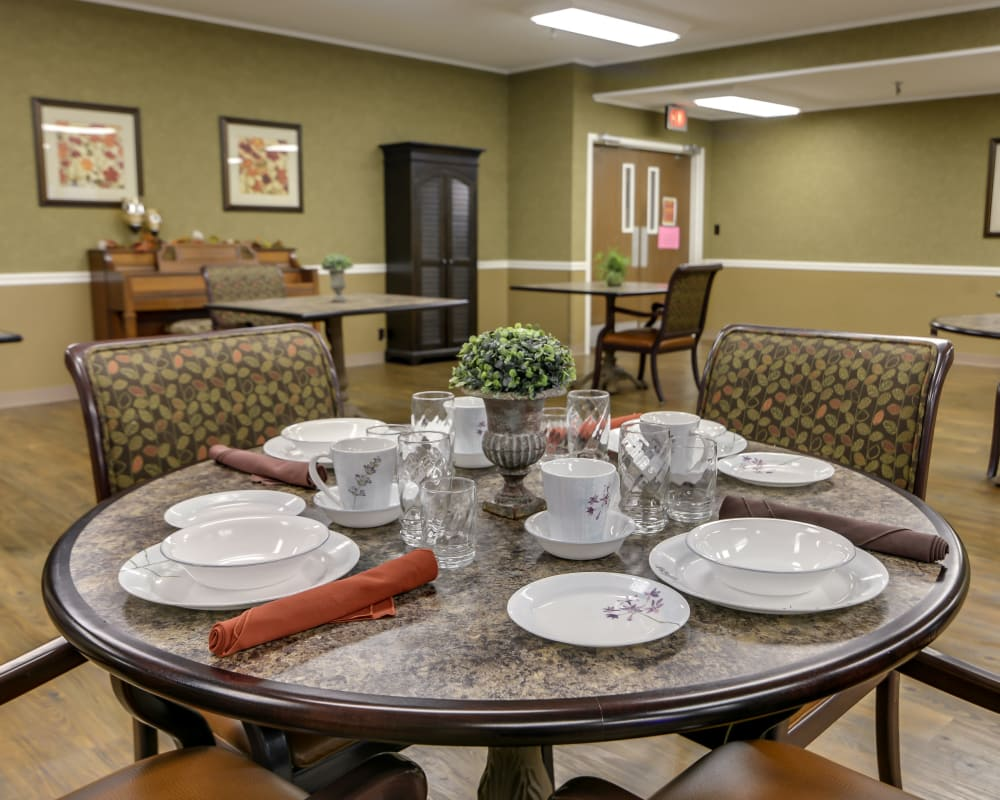 Well decorated dining area table at Eureka Nursing in Eureka, Kansas