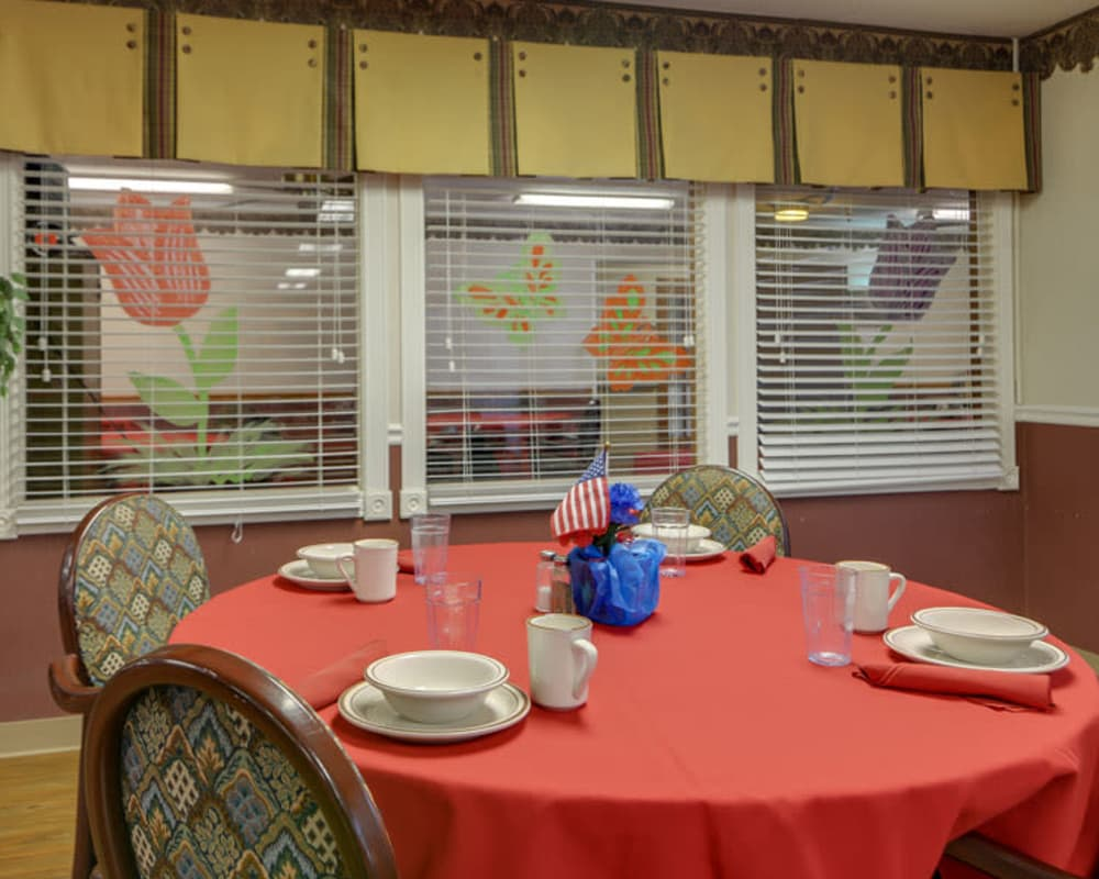 Well decorated dining area table at Pleasant Valley in Sedan, Kansas